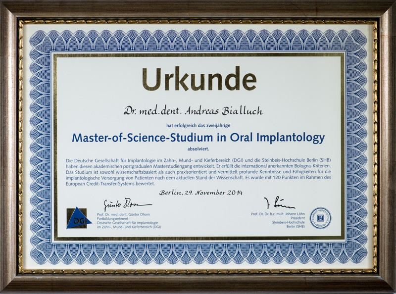 Master of Science Oral Implantology - Dr. Andreas Bialluch