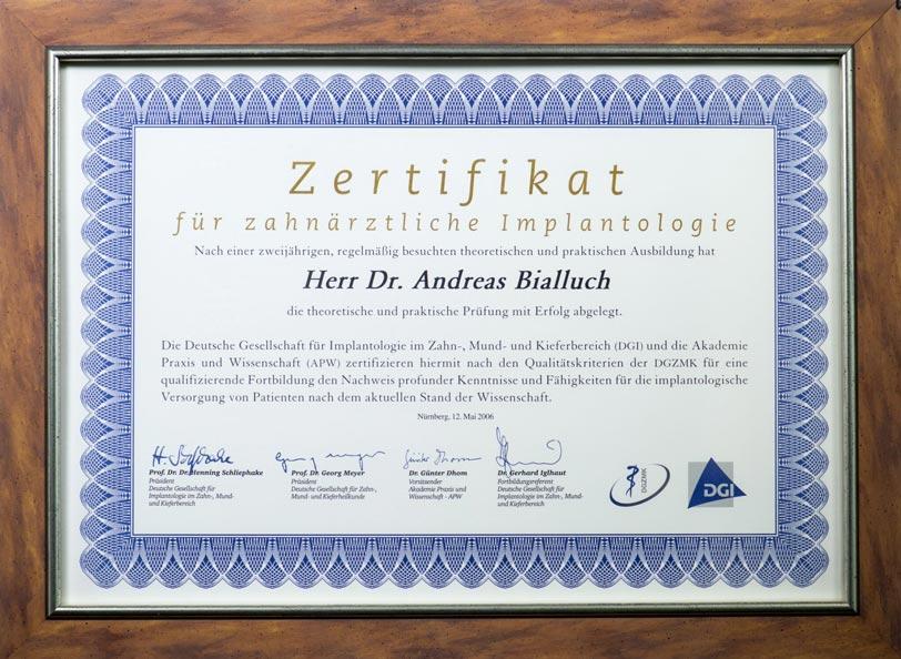 Zertifikat Implantologie - Dr. Andreas Bialluch