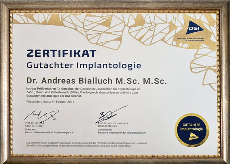 Zertifikat Gutachter Implantologie